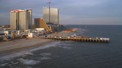 Aerial view of Atlantic City boardwalk by Trump Taj Mahal. Shot in 2011. Stock Footage