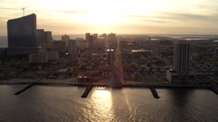 Flying past Atlantic City, New Jersey, looking back at casino resorts. Shot in - stock footage