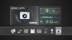 Camera icon for mobile application contents. Digital display application. Stock Footage