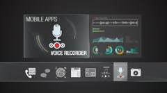 Voice Recorder a icon for mobile application. Digital display application. Stock Footage