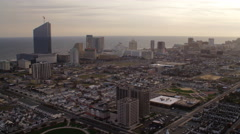 Flying over Atlantic City, New Jersey, looking seaward. Shot in November 2011. - stock footage