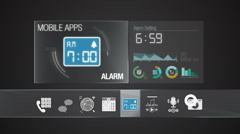 Alarm icon for mobile application contents. Digital display application. Stock Footage