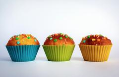 Appetizing sweet cupcakes - stock photo