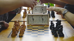 Chess tournament in chess club Stock Footage
