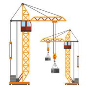 Industrial construction cranes flat style vector silhouettes Stock Illustration