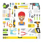 Construction equipment tools flat icons set - stock illustration