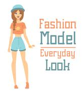 Beautiful vector cartoon fashion girl model constructor  look standing over - stock illustration
