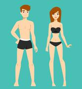 Beautiful vector cartoon nude couple fashion without clothes models look Stock Illustration