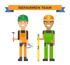 Cartoon workers couple and tools under construction vector illustration - stock illustration
