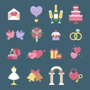 Wedding icon vector set isolated on blue background Stock Illustration