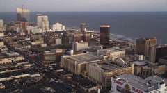 Flying past beach casino resorts in Atlantic City, New Jersey. Shot in November - stock footage