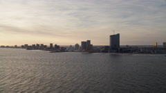 Over open water, looking back at skyline of Atlantic City, New Jersey. Shot in Stock Footage