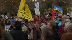 Organisers address climate change rally for COP21 Paris 2015 Stock Footage