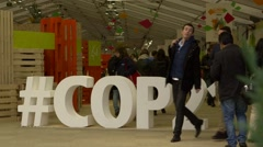 Paris Climate Change Conference COP21 - twitter hashtag cutout Stock Footage