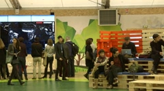 UN Climate Change conference COP21 - inside NGO pavilion - stock footage