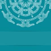 Turquoise blue card with ornate pattern and copy space Stock Illustration