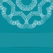 Turquoise blue card with ornate pattern and copy space - stock illustration