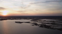 Over Turtle Cove and Log Creek Pond, New Jersey, at sunset. Shot in November Stock Footage