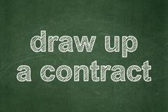 Stock Illustration of Law concept: Draw up A contract on chalkboard background