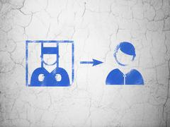 Stock Illustration of Law concept: Criminal Freed on wall background