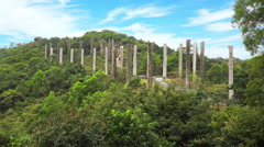 Timelapse in Motion of The Wisdom Path in Lantau Island in Hong Kong Stock Footage