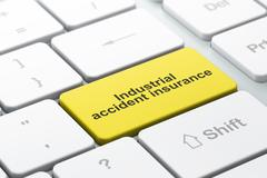 Stock Illustration of Insurance concept: Industrial Accident Insurance on computer keyboard background