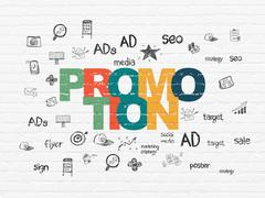 Stock Illustration of Marketing concept: Promotion on wall background