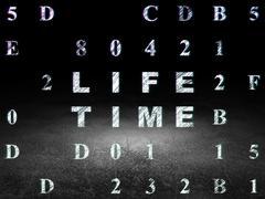Timeline concept: Life Time in grunge dark room Stock Illustration