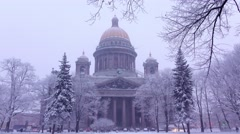 Saint Isaac's Cathedral in winter evening, dim rendering of stately structure Stock Footage