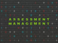 Finance concept: Assessment Management on wall background - stock illustration