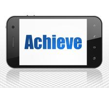 Business concept: Smartphone with Achieve on display Stock Illustration