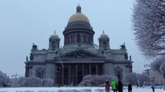 Famous orthodox basilica at snowy evening, natural light, winter season Stock Footage
