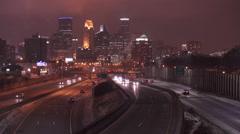 Highway traffic on 35W entering Minneapolis Minnesota at night 4k Stock Footage