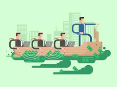 Leader company business ship - stock illustration