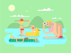 Vacation family design flat - stock illustration