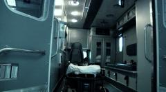 Pan Inside Empty Ambulance Stock Footage