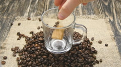Pouring instant coffee in slowmotion Stock Footage