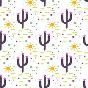 Purple and white cactus desert seamless pattern - stock illustration