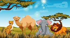 Wild animals in the field at daytime - stock illustration