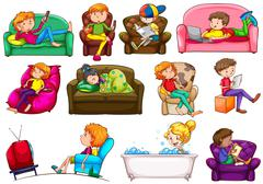 People doing different activities - stock illustration