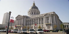 City Hall, San Francisco; trafic in foreground - stock footage