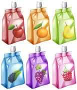 Juice with different flavour in the bag Stock Illustration