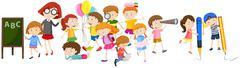Children doing different activities at school - stock illustration