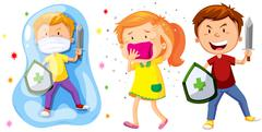 Children with shield and sword fighting germs - stock illustration