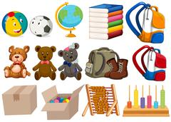 Different kind of toys and stationaries - stock illustration