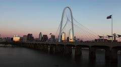 4K UltraHD Timelapse day to night on the Margaret Hunt Bridge into Dallas Stock Footage