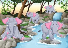 Four elephants at the waterfall - stock illustration