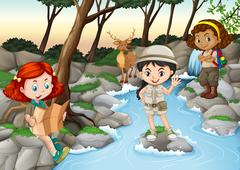 Three girls camping out by the river - stock illustration