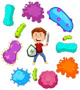 Boy with weapon fighting germs - stock illustration