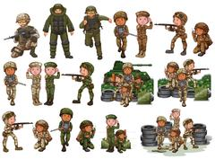 Soldiers in different actions - stock illustration